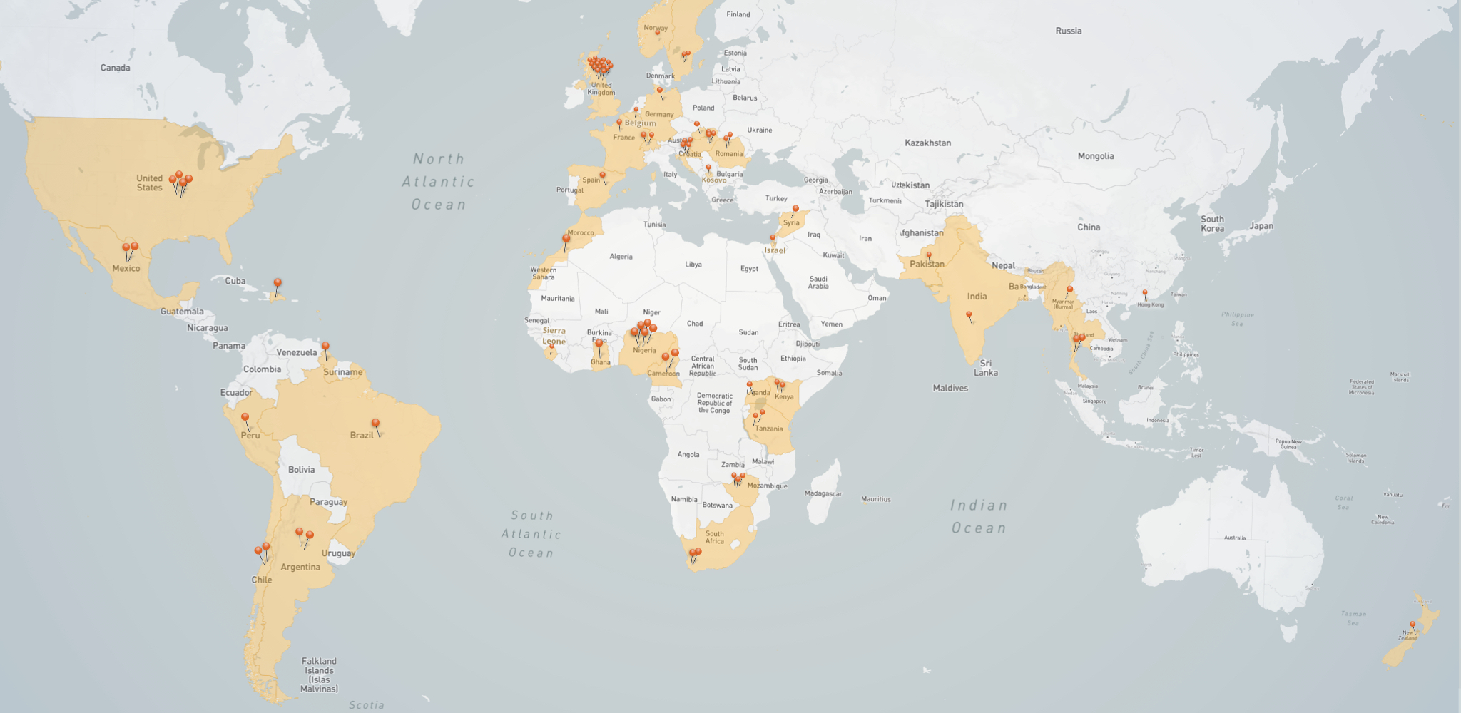 Map of locations we offered LiTS support in